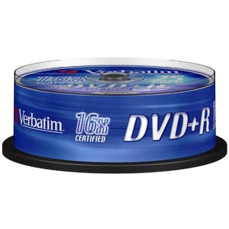Verbatim DVD+R, 16x, 4,7GB/120min, 25-pack spindel, AZO