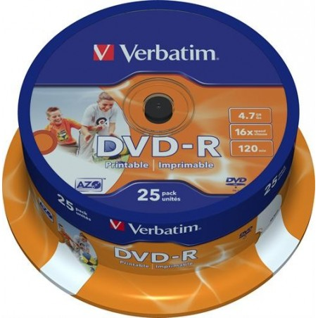 Verbatim DVD-R, 16x, 4,7GB/120min, 25-pack spindel, AZO, printable